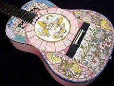 Retro Chic Pink Mosaic Tile Wall Home Decor Art Guitar