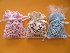 crochet mini bags/cute for baby showers or birthday bags.
