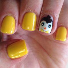 Penguin nail art design