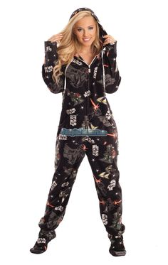 also available in hooded feetie pajamas: Star Wars Dark Side (and the good guys and the ships) $64.99