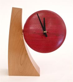 Adjustable Desk Clock III by Todd Bradlee. Cherry and walnut with aniline dye and a lacquer finish. The clock can rotate, changing the viewing angle. Signed & dated on back. Adjustable Desk, Wood Clocks, Desk Clock, Wall Clock Design, My Home Design, Retro Home, Sculpture, Wood Art, Wood Crafts