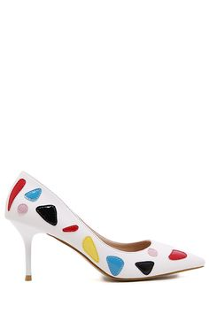 Pointed Toe Color Block PU Leather Pumps