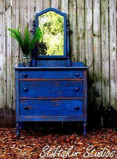 distressed antique dresser in cobalt blue  Oh what a splendid color this is! Want to do this in Springtime, Justine!