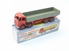 Dinky Toys Foden 8-Wheel Wagon - Second Type Cab Red Cab and Chassis with Tank Slots - Fawn Bed - Red Hubs - Large Tow Hook £310
