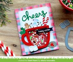 Christmas Gift Tags, Christmas Greetings, Holiday Cards, Lawn Fawn Blog, Calligraphy Cards, Lawn Fawn Stamps, Coffee Cards, Interactive Cards, Shaker Cards