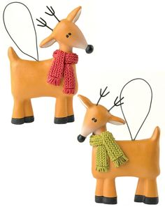 2 Piece Reindeer with Scarves Ornaments Set (Set of 4)