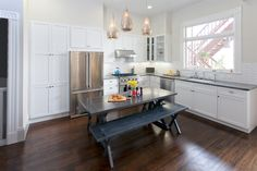 Church Street Kitchen  #kitchen #cabinets #counter #drawers #table #benches #nearwestcabinets  https://business.facebook.com/nearwestcabinets?business_id=10152349980516790