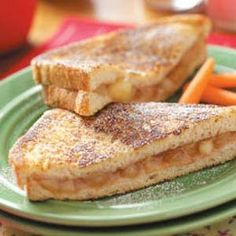Apple pie sandwiches... it's like, apple pie and french toast rolled into one. I enjoy these sandwiches for breakfast and dessert all year long,