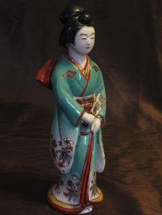 Vintage Japanese Porcelain Signed H. Senda Komatsu Japan Geisha Figurine