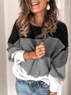 Fashion Color-block Long Sleeve Casual Crew Neck Sweater, Gray / S Casual Sweaters, Sweaters For Women, Women's Sweaters, Matching Sweaters, Fashion Colours, Vintage Jacket, Mode Outfits, Types Of Sleeves, Women's Jackets