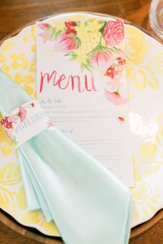 colorful wedding place setting - photo by Artiese Studios http://ruffledblog.com/bridal-shower-inspiration-with-baebrunch
