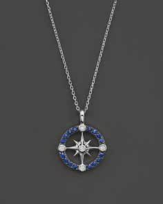 """Sapphire and Diamond Nautical Pendant Necklace in 14K White Gold, 16"""" http://amzn.to/2t4LLh7"""