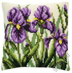 """Набор для вышивки крестом: Подушка """"Ирисы"""" купить в интернет-магазине Hobbest, низкая цена - код 223859191"""