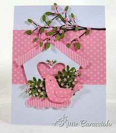 bird house card - Idea: Decorate it with tiny, quilled roses and leaves! Quilled Roses, New Home Cards, Paper Crafts, Diy Crafts, Bird Cards, Animal Cards, Scrapbook Cards, Scrapbooking, Cool Cards