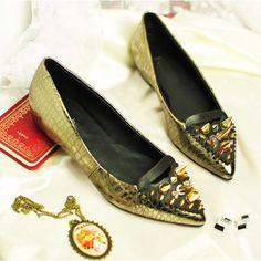Hot Metallic Gold Spike Studded Leather Cyber Punk Rock Flats Shoes SKU-11405220