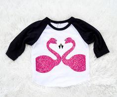 Flamingo Birthday heart Love Raglan 3/4 Length shirt by SofSBoutique