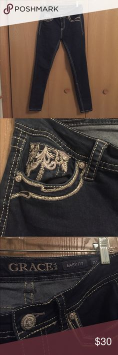 Grace in LA jeans These beauties are Grace in LA skinny jeans with gold detailing on the back pockets. Stretchy, soft, and super comfy! Excellent condition! Very similar to Miss Me! Grace in LA Jeans Skinny