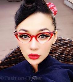 Vintage Small Clear Lens Gradient Frame Cat Eye Red Glasses Crystals Stones for sale online Fake Glasses, Cool Glasses, Cat Eye Glasses, Glasses Frames, Pin Up, Clear Eyeglass Frames, Cute Sunglasses, Sunnies, Eyewear Online