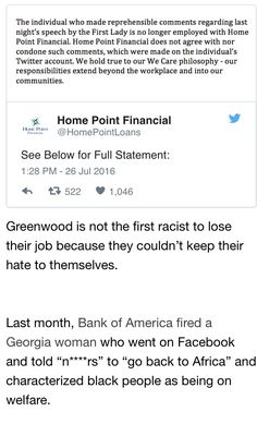 HOME POINT FINANCIAL FIRED THIS RACIST COW FOR HER REMARKS ABOUT FIRST LADY MICHELLE OBAMA. BRAVO!!!