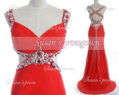 2014 Prom Dress Straps Beads Backless Red Dresses Prom by promgown, $158.00