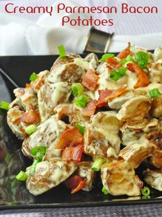 Our most popular side dish ever on Rock Recipes; Creamy Parmesan Bacon Potatoes - inspired by a steakhouse side dish, these are some of the most decadent, indulgent and completely delicious potatoes you will ever eat.