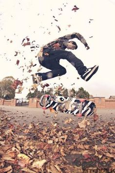This pic is really cool! #leaves #fall #skaterboy