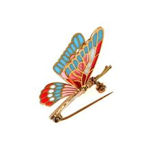 Gold Plique a Jour Enamel Butterfly Brooch Articulated
