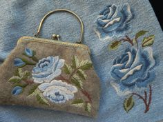 purse and skirt machine embroidered with wool thread