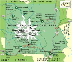 Mt Rainier National Park Map 2of2 Outdoor Adventure