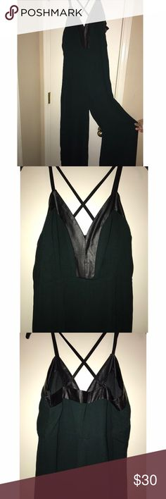 Hunter Green Jumpsuit Hunter green jumpsuit featuring a leather design Forever 21 Pants Jumpsuits & Rompers
