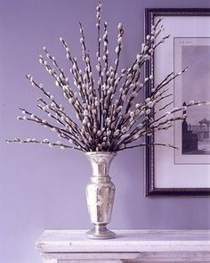 Pussy willow altar arrangement