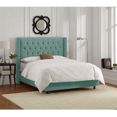 Skyline Furniture Caribbean Velvet Diamond Tufted Wingback Nail Bed