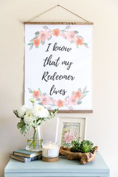 DIY Hanging Easter Scroll Printable | blesserhouse.com - Two free downloads of spring and Easter printables plus a quick and easy tutorial for how to make a DIY hanging scroll inexpensively. #easter #walldecor