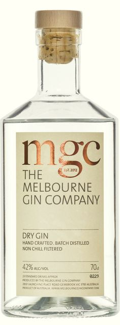 Melbourne Gin Company (MGC) #label #packaging details. Adestor Vellum - high white uncoated paper facesheet available in a selection of adhesives. Offered in sheets, Adestor Vellum has excellent printability and is suitable for dry toner printing and a variety of other print techniques. - See more at: http://www.kwdoggett.com.au/brands/adestor-vellum/?context=adhesive-sheets#sthash.r8sgjHNu.dpufAdestor Vellum Bottle Packaging, Bottle Labels, Craft Gin, Gin Brands, Juniperus Communis, Gin And Tonic, Bottle Design, Distillery, Whisky