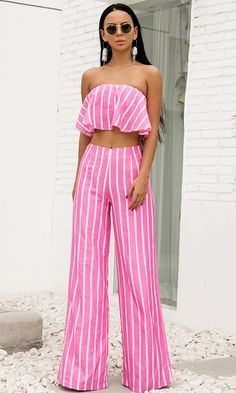 31414c0966b8 Miami Lover Pink White Vertical Stripe Pattern Strapless Ruffle Crop Top  High Waist Wide Leg Loose Pant Jumpsuit Two-Piece Set - Sold Out