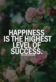 Happiness Is The Highest Level Of Success.