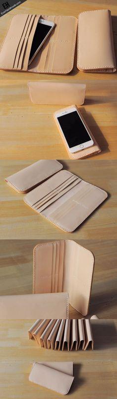 Handmade vintage purse leather wallet long phone wallet clutch wallet beige More