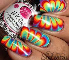 WHOA!!! Nail Art Tutorial, Nail Designs, Nail Art How To, Rainbow Watermarble Nails   NailIt! Magazine