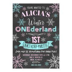 Winter ONEderland Girl 1st Birthday Invitation - giftidea gift present idea one first bday birthday 1stbirthday party 1st