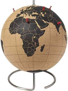 Global World Map Cork Board