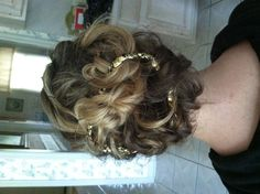 awesome updo. Cut elastic off of a headband and weave through hairdo. Secure with bobbypins. Elegant & fun