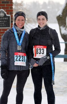 This photo was snapped after running the Edmonton Hypothermic Half Marathon  in February 2012. It was super cold and snowy. The winter elements added  about 10 minutes to my race time. On the left, my running friend Alissa,  and me on the right.  Years ago in a running magazine, a runner wrote in to ask an expert about  adding a dash of vodka to his water to prevent it from freezing in the  winter on long runs. My immediate thought: Genius! I bet lemon vodka would  be a tasty solution…