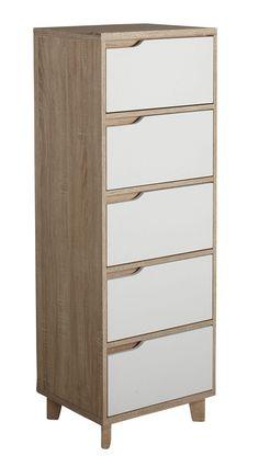 #Chiffonnier 5 tiroirs #Nordic imitation #chêne et #blanc - BUT #chambre #rangement #meuble #bois