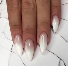 nude and white ombre nail polish, cute easy nail designs, long stiletto nails Do you get overwhelmed when choosing you manicure? We have gathered 100 best nail designs suitable for every nail shape to help you choose your favourite. Nail Art Designs Images, Ombre Nail Designs, White Nail Art, White Nails, Fancy Nails, Pretty Nails, Cute Easy Nails, Frensh Nails, Coffin Nails