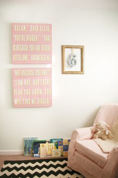 I could do this myself! Canvas wall art with a quotation from a favorite book (adapted with child's own name) ... great idea!