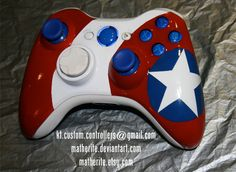 Captain America Xbox 360 Controller by matherite on DeviantArt Boba Fett Helmet, Adventure Time Characters, Xbox 360 Controller, Xbox One Console, Gaming Room Setup, Avengers Infinity War, Clone Wars, Video Game Console, Captain America