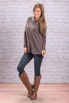 """Long Sleeve Button Cowl Neck Sweater - Mocha"""