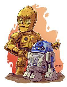 Chibi C3p0 - R2-D2 by Derek Laufman