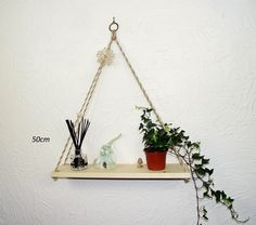Hanging Geometric Rope Shelf, Rustic Natural Pine — Sew Very Chic Rope Shelves, Shelf, Mixed Fiber, Hanging Rope, Linseed Oil, House Plants, Pine, Rustic, Contemporary