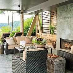 This raised terrace, designed by Richard Tubb features rustic textures that are complemented with clean lines and sleek surfaces. | SouthernLiving.com